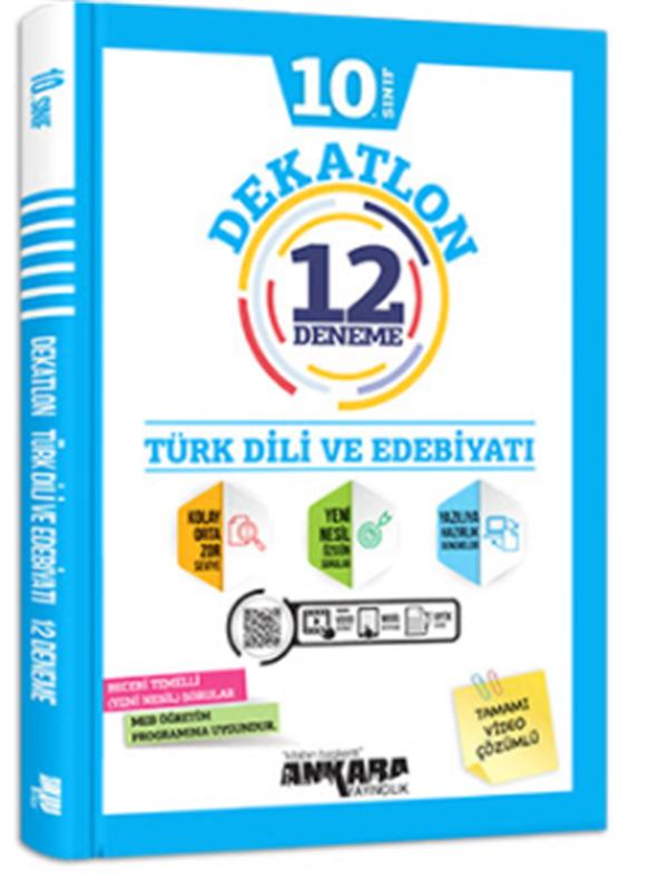 Ankara yayıncılık 10.Sınıf Türk Dili Ve Edebiyatı Dekatlon 12 Deneme