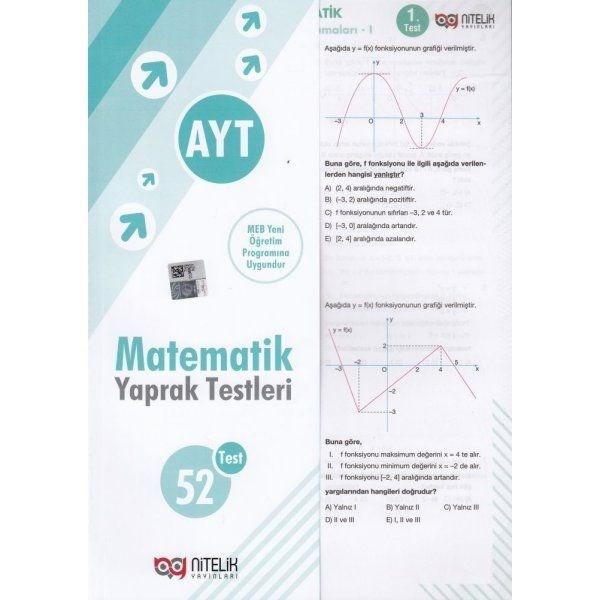 Nitelik Yayınları AYT Sınıf Matematik 52 Yaprak Test