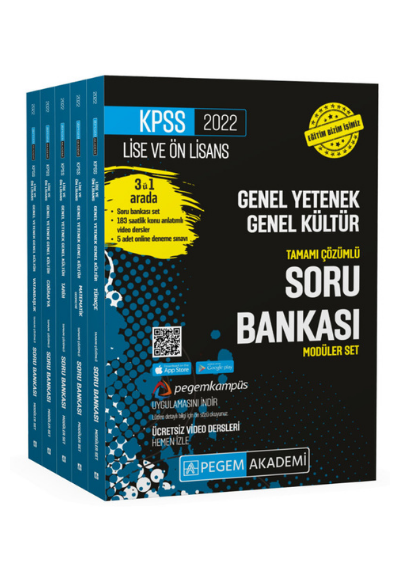 Pegem Yayınları 2022 KPSS Lise ve Önlisans Genel Yetenek Genel Kültür Tamamı Çözümlü Soru Bankası Seti