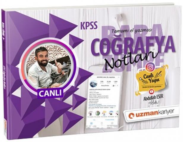 2019 KPSS Coğrafya Canlı Ders Notları Baba Zümre Uzman Kariyer Yayınlar