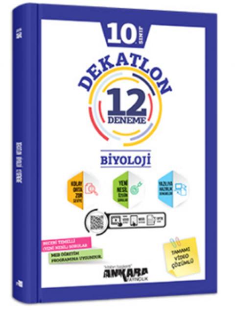 Ankara Yayıncılık 10.Sınıf Biyoloji Dekatlon Denemeleri (12 Adet)