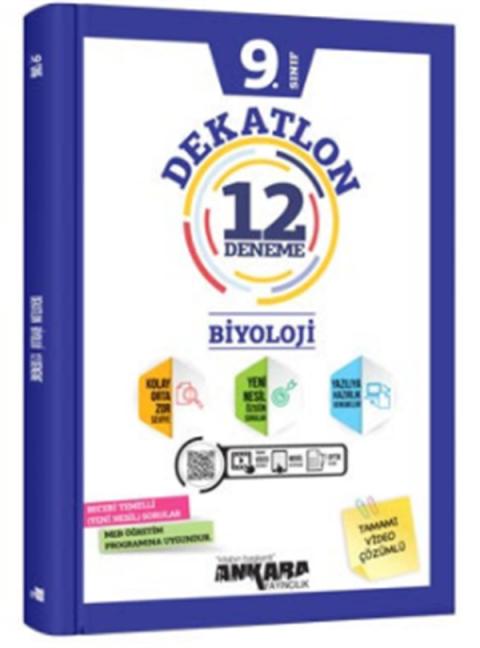 Ankara Yayıncılık 9.Sınıf Biyoloji Dekatlon Denemeleri (12 Adet)