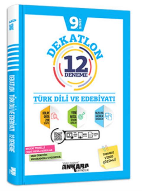 Ankara Yayıncılık 9.Sınıf Türk Dili ve Edebiyatı Dekatlon Denemeleri (12 Adet)