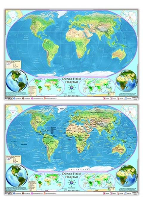 Ankara Yayıncılık Dünya Fiziki Haritası  (Yazılabilir - Silinebilir)