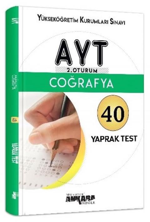 Ankara Yayıncılık YKS AYT 2. Oturum Coğrafya 40 Yaprak Test