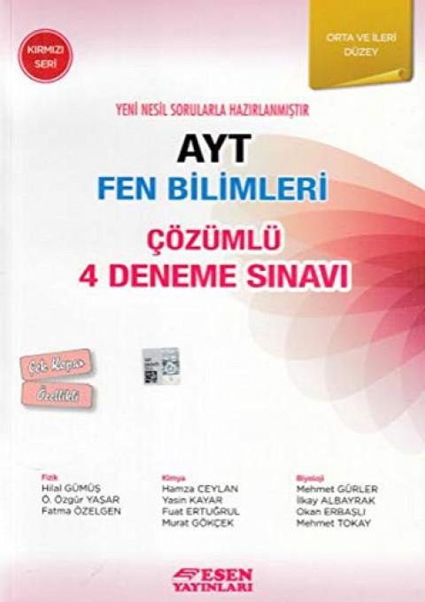 Esen Yayınları AYT Fen Bilimleri Çözümlü 4 Deneme Sinavi