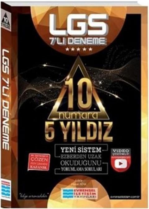 Evrensel İletişim Yayınları LGS 10 Numara 5 Yıldız Video Çözümlü 7'li Deneme