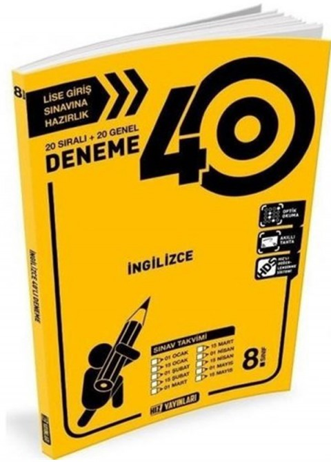 Hız Yayınları 8. Sınıf İngilizce 40'lı Deneme