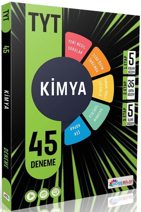 Köşebilgi Yayınları YKS TYT Kimya 45 Deneme Video Çözümlü