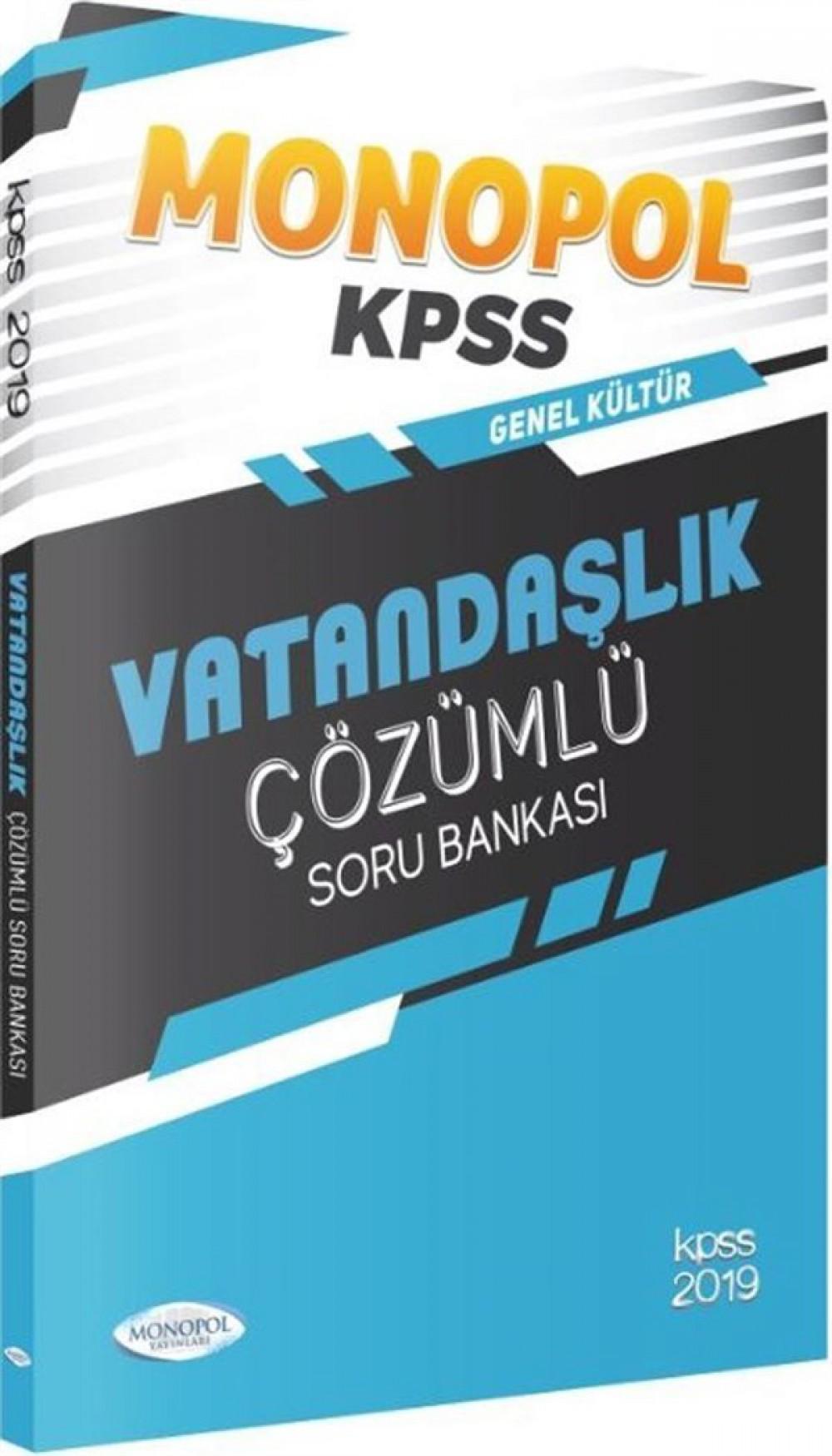 Monopol Yayınları 2019 KPSS Genel Kültür Vatandaşlık Çözümlü Soru Bankası