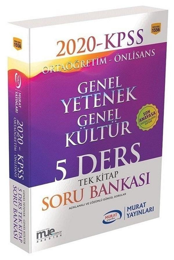Murat Yayınları 2020 KPSS Lise Önlisans Genel Yetenek Genel Kültür 5 Ders Tek Kitap Soru Bankası 1556
