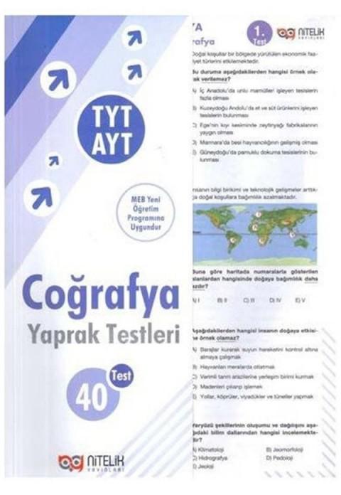 Nitelik Yayınları TYT AYT Coğrafya Yaprak Testleri