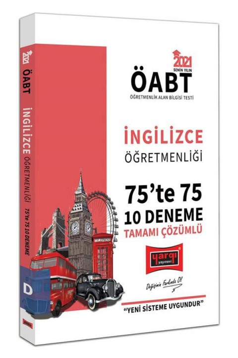 Yargı Yayınları 2021 ÖABT İngilizce Öğretmenliği 75'te 75 Tamamı Çözümlü 10 Deneme Sınavı