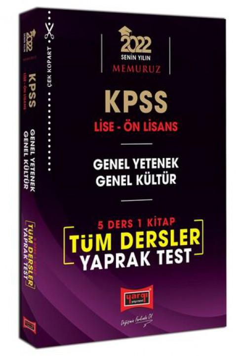 Yargı Yayınları 2022 KPSS Lise Ön Lisans GY GK 5 Ders 1 Kitap Tüm Dersler Yaprak Test