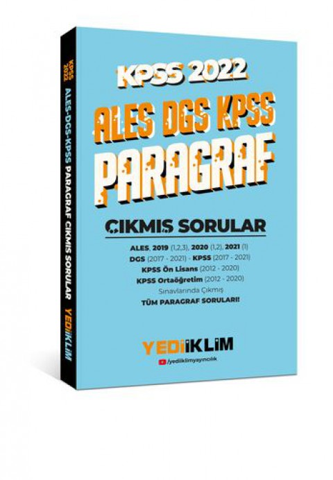 Yediiklim Yayınları 2022 KPSS-ALES-DGS Paragraf Çıkmış Sorular