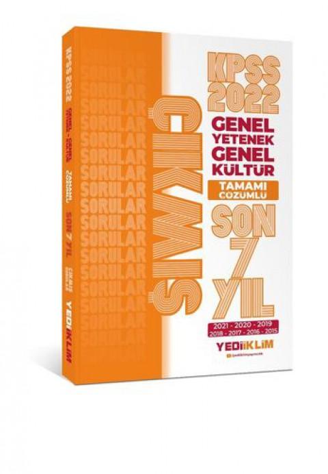 Yediiklim Yayınları 2022 KPSS GY-GK Tamamı Çözümlü Son 7 Yıl Çıkmış Sorular(2015-2021)