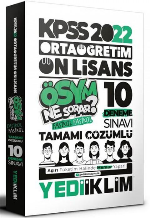 Yediiklim Yayınları 2022 KPSS Ortaöğretim Ön Lisans GK-GY Tamamı Çözümlü 10 Fasikül Deneme
