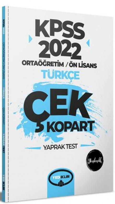 Yediiklim Yayınları 2022 KPSS Ortaöğretim Ön Lisans Genel Yetenek Türkçe Çek Kopart Yaprak Test