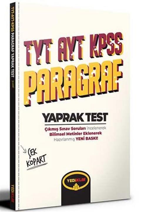 Yediiklim Yayınları TYT AYT KPSS Paragraf Çek Kopart Yaprak Test