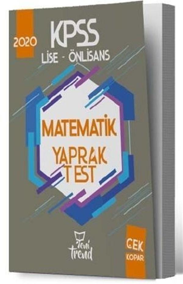 Yeni Trend Yayınları 2020 KPSS Lise Önlisans Gy Gk Matematik Yaprak Test